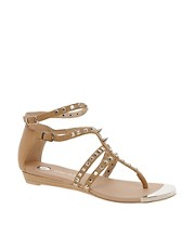 River Island Gladiator Tan Studded Flat Sandals