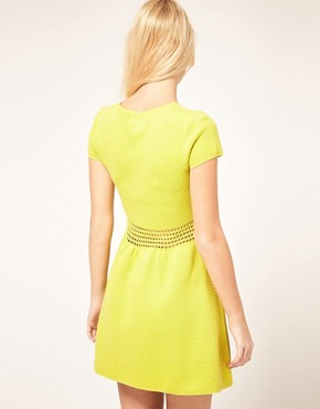 Image 2 ofASOS PETITE Fit And Flare Dress With Crochet Waistband