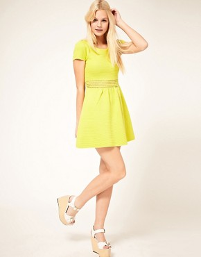 Image 4 ofASOS PETITE Fit And Flare Dress With Crochet Waistband