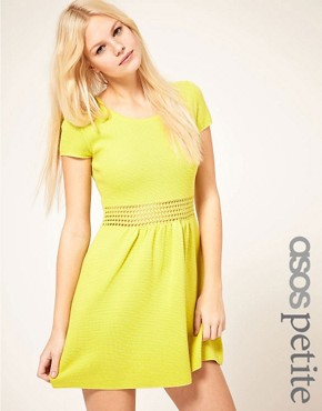 Image 1 ofASOS PETITE Fit And Flare Dress With Crochet Waistband