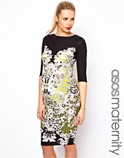 ASOS Maternity Printed Bodycon Dress In Mirror Floral