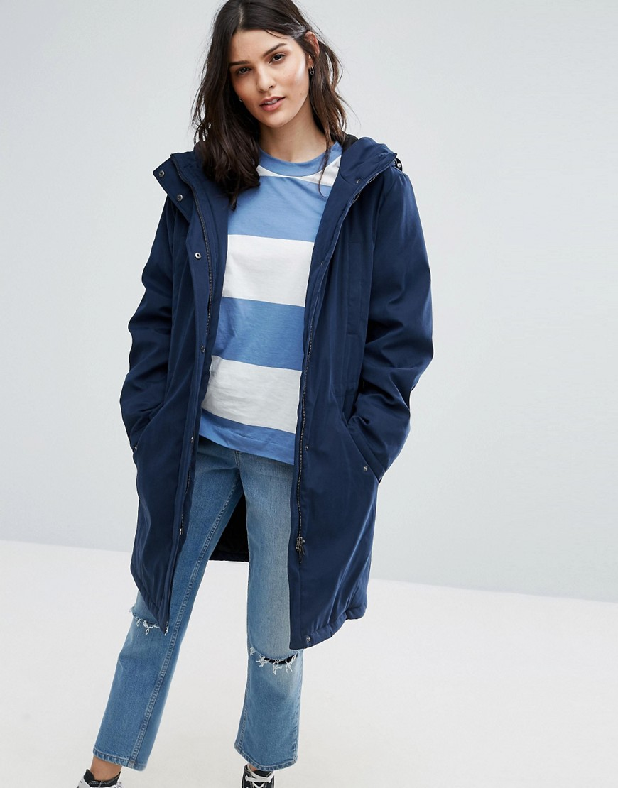 Selected Sille Parka Coat - Navy blazer