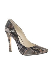 Emma Cook Blue Patchwork Printed Court Shoes
