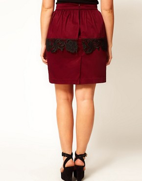 Image 2 ofASOS CURVE Exclusive Peplum Skirt With Cutwork Hem