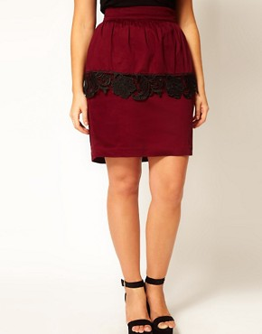Image 4 ofASOS CURVE Exclusive Peplum Skirt With Cutwork Hem