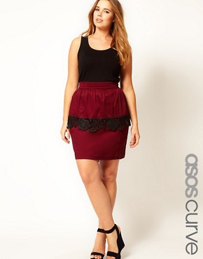 Image 1 ofASOS CURVE Exclusive Peplum Skirt With Cutwork Hem