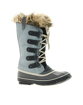 Image 1 ofSorel Joan of Arctic Grey Faux Fur Cuff Boots