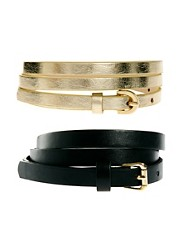 ASOS 2 Pack Skinny Waist Belt