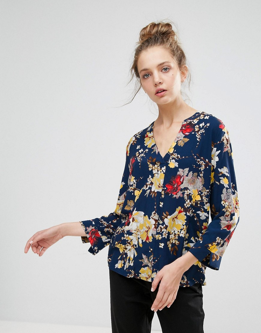 b.Young Floral Collarless Blouse - Copenhagen night