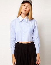 ASOS WHITE Stripe Cropped Shirt