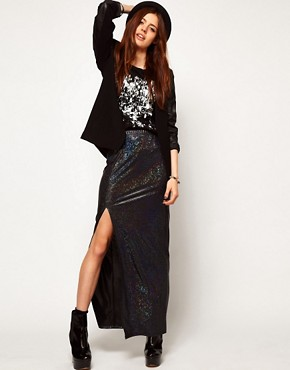 Image 1 ofASOS Maxi Skirt in Hologram with Thigh High Split