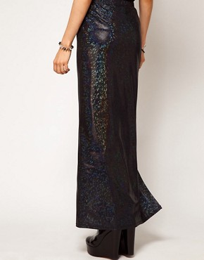 Image 2 ofASOS Maxi Skirt in Hologram with Thigh High Split