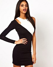 ASOS Bodycon In Colourblock With One Shoulder