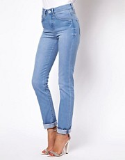 ASOS Marney Straight Leg Jeans in Light with True Blue