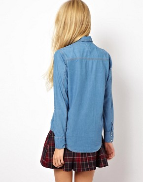 Image 2 ofASOS Denim Shirt in Mid Stonewash Blue