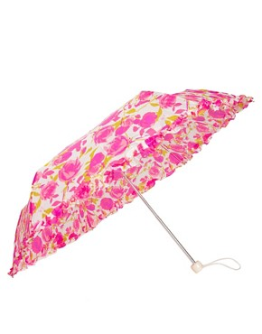 Image 1 ofLulu Guinness Superslim Rose Print Umbrella
