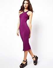 ASOS Midi Bodycon Dress With Racer Neck