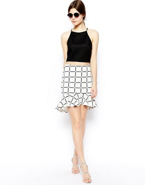 Image 1 of ASOS Scuba Peplum Hem Skirt In Check Print
