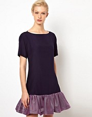 Louise Amstrup Navy Strut Dress with Pink Net Frilled Hem