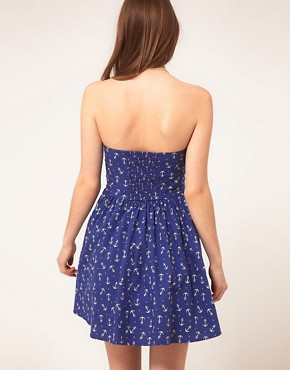 Image 2 ofASOS Bandeau Summer Dress In Anchor Print