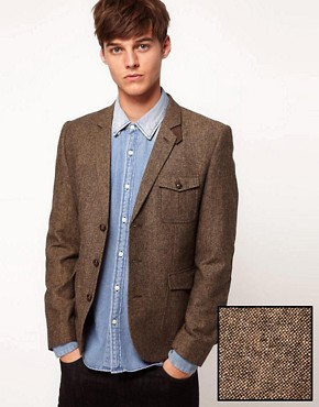 Image 1 ofASOS Slim Fit Tweed Blazer
