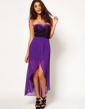 Image 1 of TFNC Dress with Lace Bodice and Hi Lo Skirt