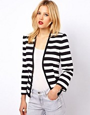 Mango Cotton Striped Blazer