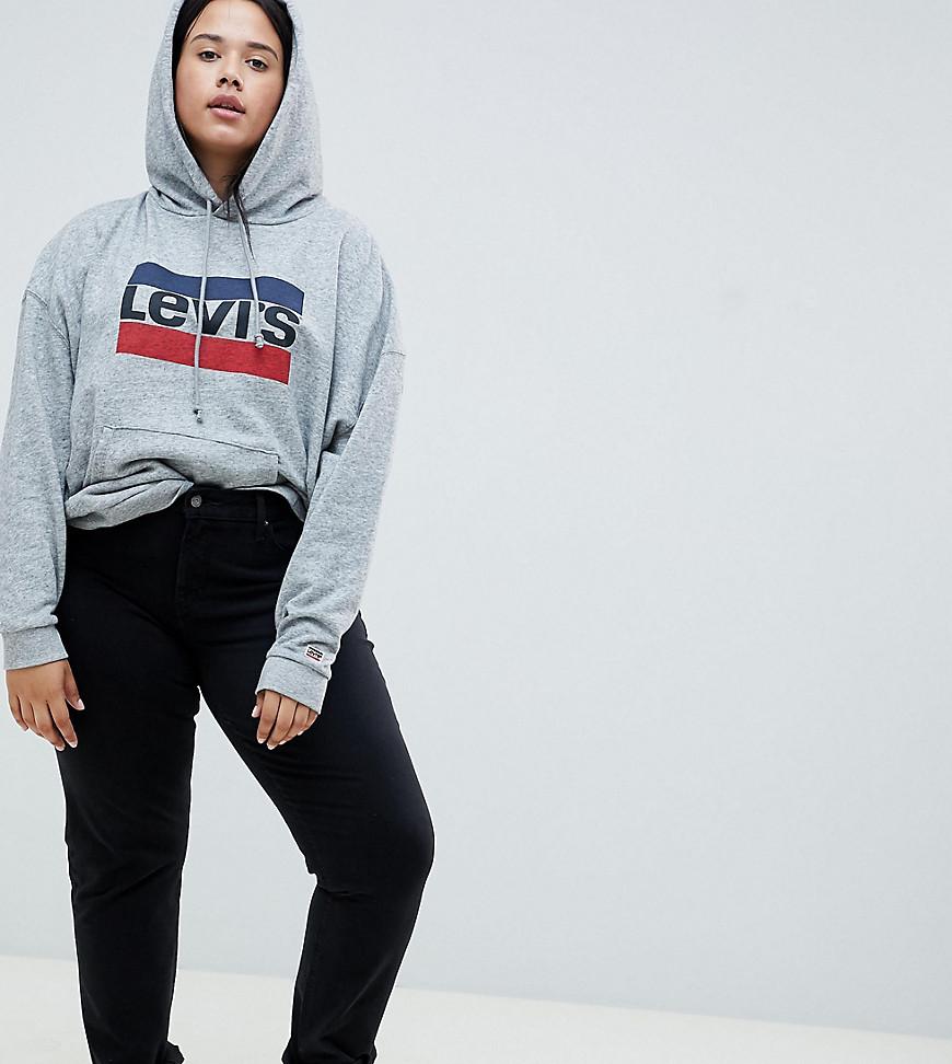 levi's plus - Levis Plus - 311 - Figurformende Skinny-Jeans in reinem Schwarz - Schwarz