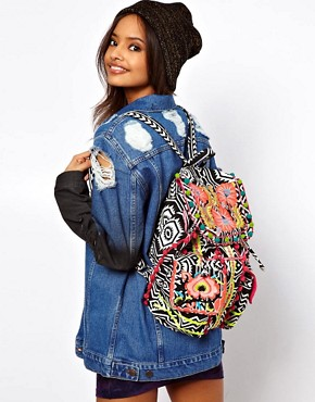 Image 3 ofASOS Floral Weave Backpack