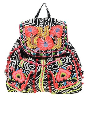Image 1 ofASOS Floral Weave Backpack