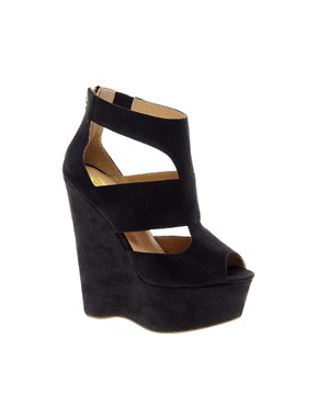 Image 1 ofRiver Island Eager Black Strappy Platform Wedges