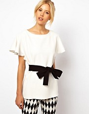 ASOS Top With Fluted Sleeves And Belted Waist