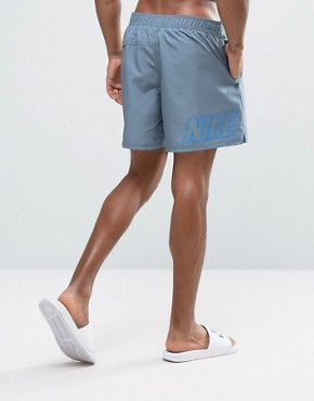 Nike Swim Shorts With Back Logo Print In Grey