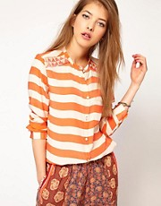 Maison Scotch Silk Shirt in Stripe