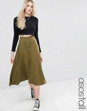ASOS TALL Button Through Midi Skirt