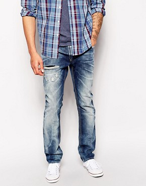 Diesel Jeans Thavar Slim Fit 833Z Blue Icon Bleach Distress