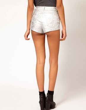 Image 2 ofASOS High Waist Denim Shorts in Silver Holographic Print