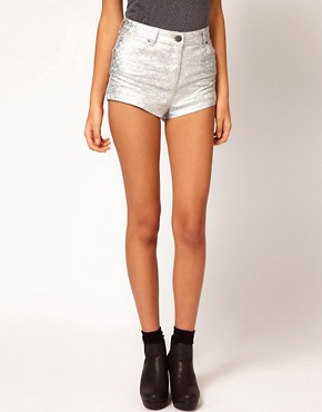 Image 4 ofASOS High Waist Denim Shorts in Silver Holographic Print