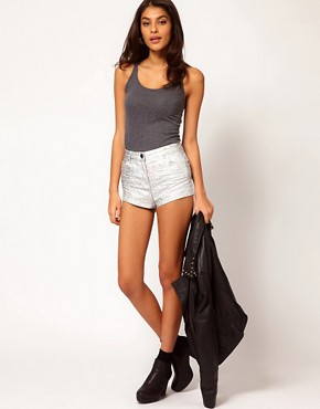 Image 1 ofASOS High Waist Denim Shorts in Silver Holographic Print