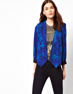 Image 2 ofAryn K Snake Print Jacket With Caged Back