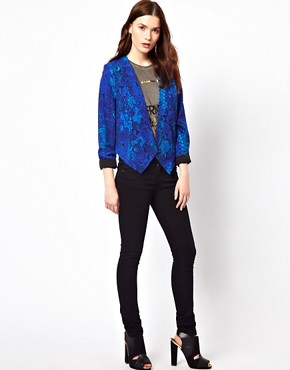 Image 4 ofAryn K Snake Print Jacket With Caged Back