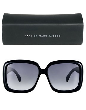 Image 2 ofMarc By Marc Jacobs Black Square Frame Sunglasses