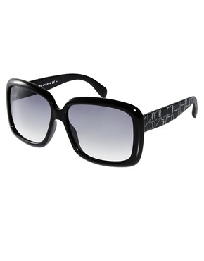 Image 1 ofMarc By Marc Jacobs Black Square Frame Sunglasses