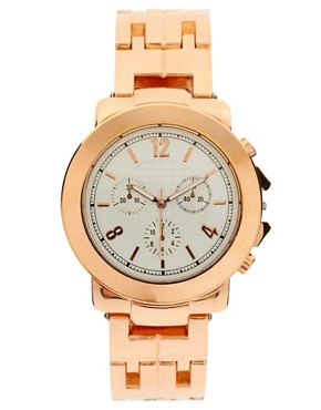 Image 1 ofRiver Island Rose Gold Chronograph Watch