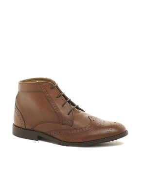 Image 1 ofASOS Brogue Chukka Boots in Leather