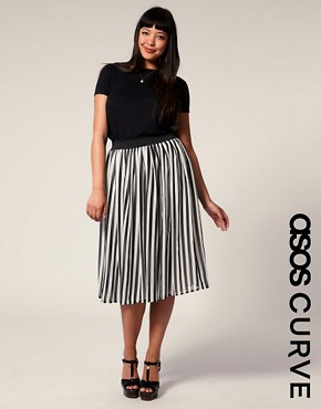Image 1 of ASOS CURVE Printed Midi Skirt