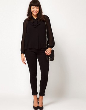 Image 4 ofASOS CURVE Blouse With Pussy Bow And Pleated Sleeve