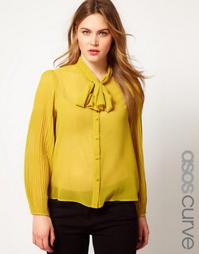 Image 1 ofASOS CURVE Blouse With Pussy Bow And Pleated Sleeve