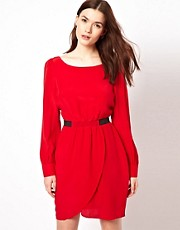 Aryn K Tulip Dress With Long Sleeves And Cinched Waist