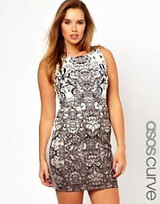 ASOS CURVE Exclusive Bodycon Dress In Lace Print